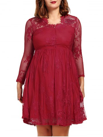 Long Sleeve See-Through Prom Ball Gown Dress - Red - 2xl