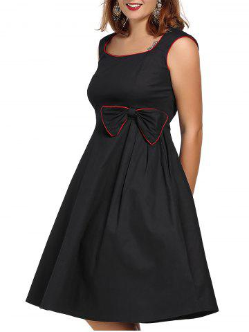 Latest Vintage Plus Size Square Neck Cap Sleeve Bowknot Embellished Dress For Women