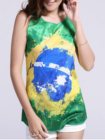 Buy Women's Chic Brazil Hit Color Print Tank Top GREEN XL
