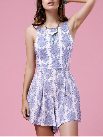 Fancy Stylish Spaghetti Straps Sleeveless Retro Printed Cut Out Women's Dress