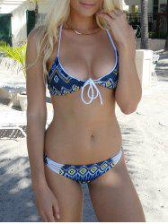 Refreshing Self-Tie Argyle Bikini Set For Women -