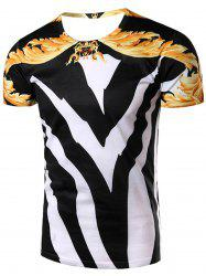 3D Color Block Abstract Printed Round Neck Short Sleeve T-Shirt For Men -