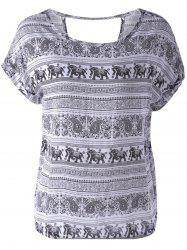 Loose-Fitting Scoop Neck Backless Print Ethnic Style T-Shirt For Women -