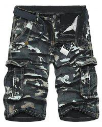 Camo Print Multi-Pocket Loose Fit Straight Leg Zipper Fly Cargo Shorts For Men