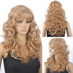 Stunning Blonde Mixed Capless Fluffy Curly Full Bang Synthetic Wig For Women - COLORMIX