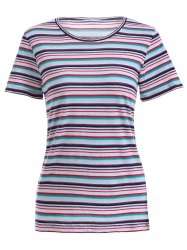 Fashionable Scoop Neck Striped T-Shirt For Women -