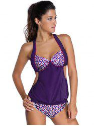 Alluring Halter Print Hollow Out Tankini Set For Women - PURPLE 2XL