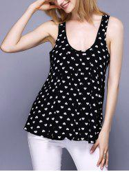 Charming U-Neck Heart Print Button Design Women's Tank Top
