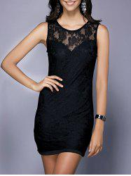 Chic Round Neck Sleeveless Hollow Out Black Skinny Women's Dress -