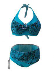 Chic Plus Size Halter Spliced Printed Women's Bikini Set