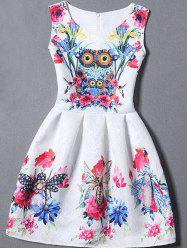 Sleeveless Owl Floral Fit and  Flare Dress -