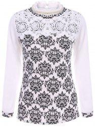 Stylish Ruff Collar Long Sleeves Lace Splicing Print Blouse For Women