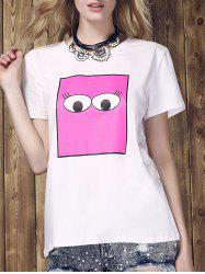 Women's Fashionable Monster Eyes Print Round Neck T-Shirt -