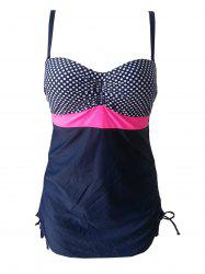 Chic Plus Size Cut Out Polka Dot Print One-Piece Women's Swimwear