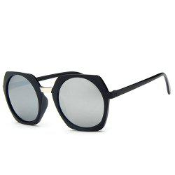 Stylish Retro Round Flash Mirror Irregular Rim Unisex Black Sunglasses -