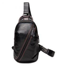 Simple Style Zipper and Hit Colour Design Messenger Bag For Men - BLACK