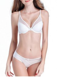 Mesh Panel V Shape Push Up Bra Set - WHITE