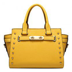 Trendy Rivet and Solid Color Design Tote Bag For Women