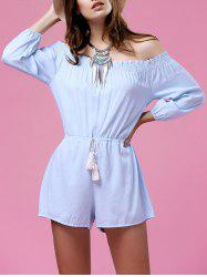 Stylish Off The Shoulder Pure Color Drawstring Women's Playsuit -
