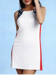 Women's Chic Sleeveless Scoop Neck Star Print Dress - WHITE