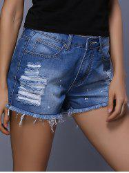 High Waist Rippped Cut Off Denim Shorts