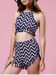 Halter Zig Zag Crop Top and Dolphin Shorts Suit