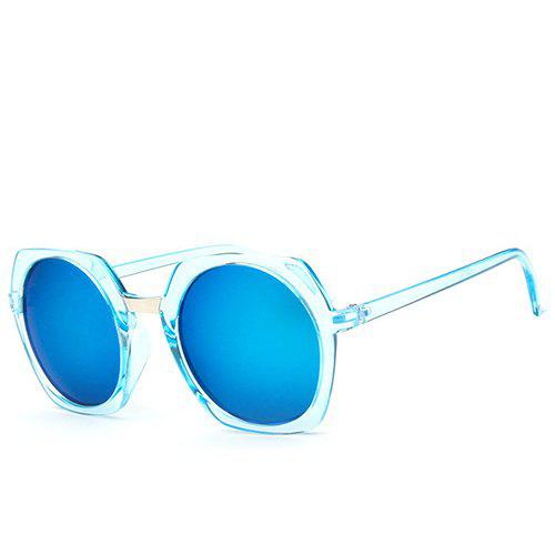 Buy Chic Retro Round Flash Mirror Transparent Irregular Rim Sunglasses For Women