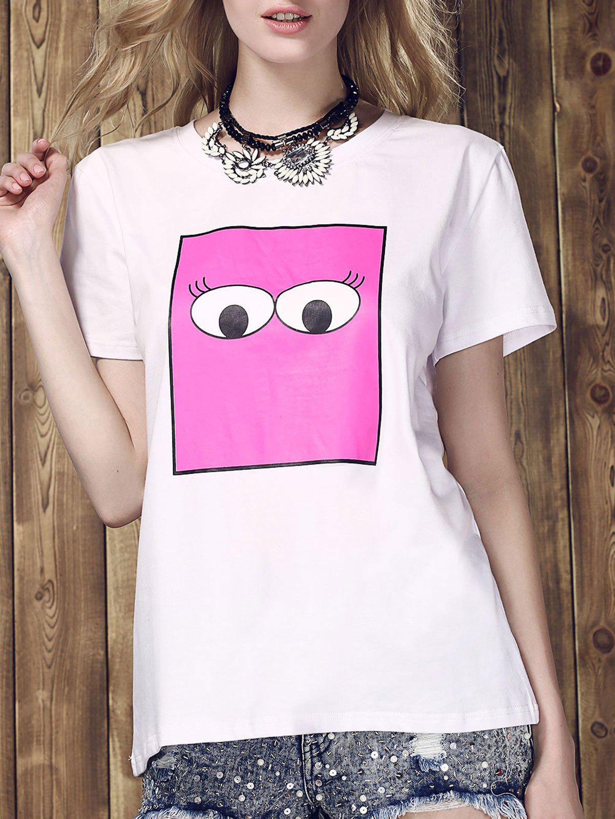 Hot Women's Fashionable Monster Eyes Print Round Neck T-Shirt