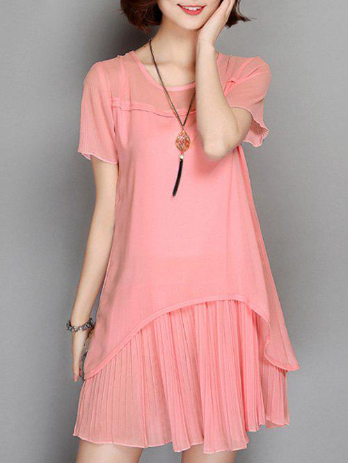 Outfits Frilled Sheer Pleated Chiffon  Dress