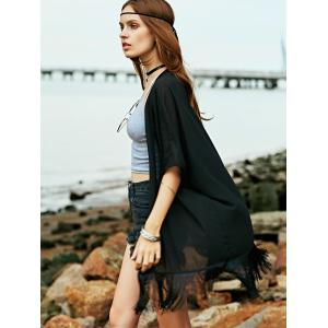 Fringed Beach Cardigan Kimono Cover Up - BLACK ONE SIZE(FIT SIZE XS TO M)