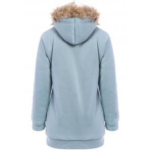 Faux Fur Trim Hooded Zip Up Coat -