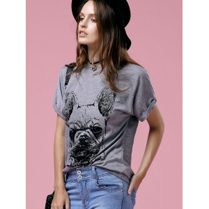 Cute Cartoon Print Round Neck Short Sleeve T-Shirt For Women -