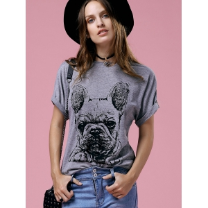 Cute Cartoon Print Round Neck Short Sleeve T-Shirt For Women - GRAY XL