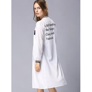 Casual Stand Collar Long Sleeve Letter Embroidery Baseball Coat For Women -