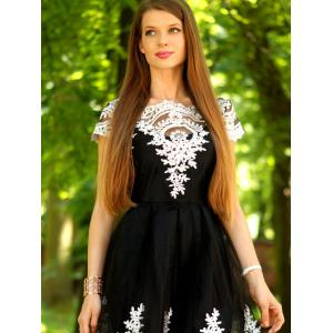 Vintage Lace Panel Mesh Fit and Flare Dress - BLACK S