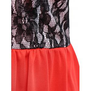 Lace Panel Short Strapless Formal Dress -