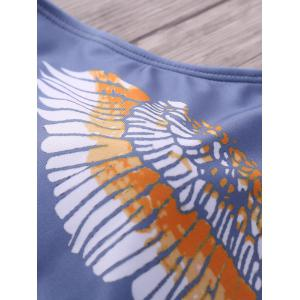 Stylish Plunging Neck Eagle Print One-Piece Women's Swimwear -