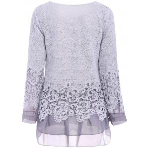 Chic Round Collar Long Sleeve Lace Spliced Women's Blouse - GRAY S
