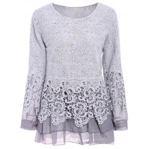 Chic Round Collar Long Sleeve Lace Spliced Women's Blouse