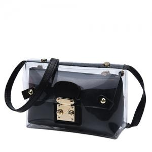 Trendy Transparent and Hasp Design Crossbody Bag For Women -