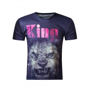 Fashion 3D Round Neck Lion Head Print Short Sleeve Men's T-Shirt