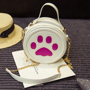 Cute Paw Print and Round Shape Design Tote Bag For Women -
