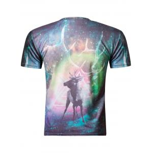 Fashion 3D Round Neck Colored Deer Print Short Sleeve Men's T-Shirt - COLORMIX M