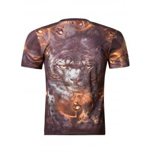 Fashion 3D Round Neck Tiger Print Short Sleeve Men's T-Shirt - COLORMIX 2XL