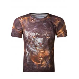 Fashion 3D Round Neck Tiger Print Short Sleeve Men's T-Shirt