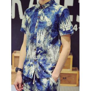 Funny Ink Painting Pattern Shirt Collar Short Sleeves Plus Size Button-Down Shirt For Men -