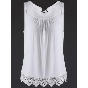 Women's Stylish Jewel Neck Lace Splice Cut Out Tank Top - White - S