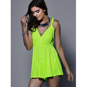 Stylish Plunging Neck Sleeveless Solid Color Romper For Women -