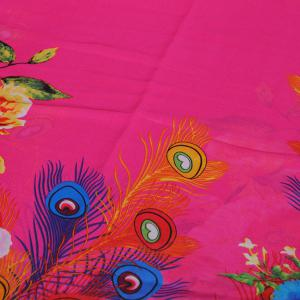 Chic Flowers Peacock Feathers Pattern Sunscreen Shawl Wrap Chiffon Scarf For Women - ROSE MADDER