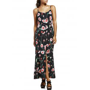 Floral Slit Long Cami Summer Dress - Black - Xl